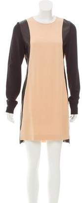 Reed Krakoff Leather-Trimmed Colorblock Dress