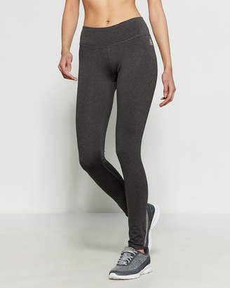 Reebok Charcoal Heather Quick Tight Logo Waist Athletic Leggings