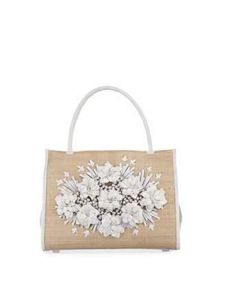 Nancy Gonzalez Wallis Floral Crocodile & Straw Tote Bag