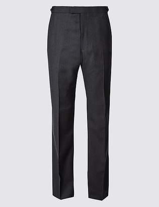 Marks and Spencer Herringbone Regular Fit Wool Trousers