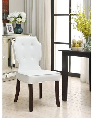 Chic Home Star PU Leather Modern Contemporary Button Tufted Turned Wooden Leg Dining Chair, Set of 2 White