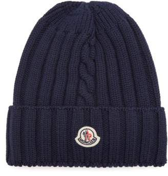 Moncler Ribbed Knit Wool Beanie Hat - Womens - Navy