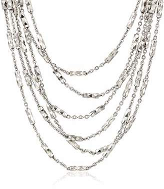 "Decadence Unisex Sterling Rhodium 9.00mm Fancy Diamond Cut Tube Necklace 16'' with 2"" Extension"