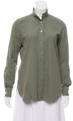 Frame Collared Button-Up Blouse