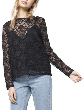 MinkPink Wine And Dine Lace Top