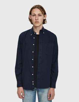 Gitman Brothers Hopsack Button Down Shirt in Navy