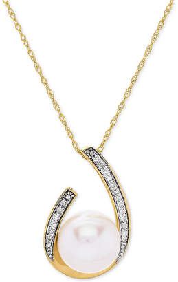"Honora Style Cultured Freshwater Pearl (9 mm) & Diamond (1/10 ct. t.w.) 18"" Pendant Necklace in 14k Gold"
