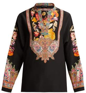 Etro Pentaport Digital Print Silk Kaftan Top - Womens - Black Multi