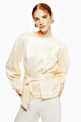 Topshop Womens Belted Ovoid Sleeve Top - Champagne