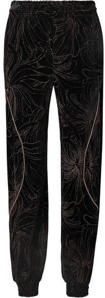 Chloé Embellished Printed Velvet Track Pants - Black