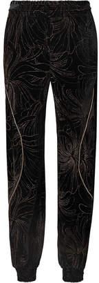 Chloé (クロエ) - Chloé - Embellished Printed Velvet Track Pants - Black