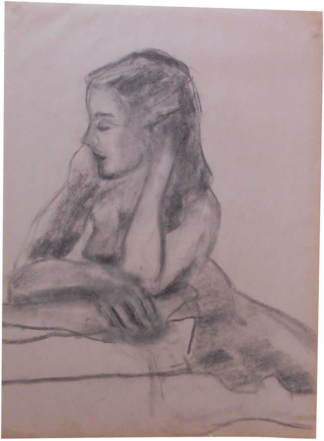 One Kings Lane Vintage Charcoal Seated Nude by Pollock