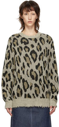 R 13 Brown Leopard Cashmere Crewneck Sweater
