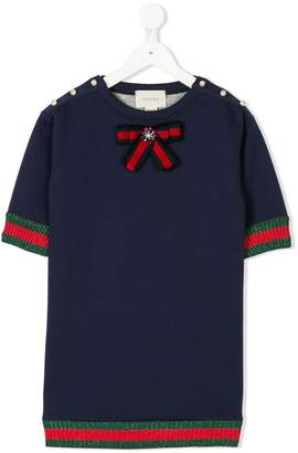 Gucci Kids round neck embellished top