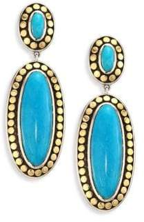 John Hardy Dot Turquoise& 18K Yellow Gold Oval Drop Earrings