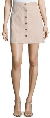 Theory Sinall L Benna Suede Button-Front Skirt $695 thestylecure.com