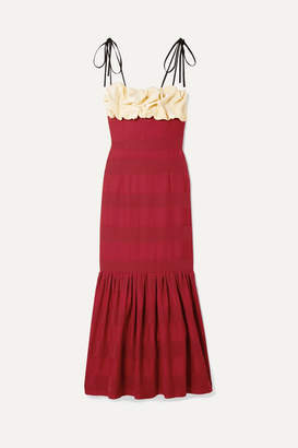 Hellessy Rosie Ruffled Paneled Satin Midi Dress - Crimson