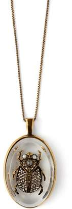 Alexander McQueen Scarab Pendant Fine Chain Necklace - Womens - Gold