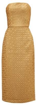 Johanna Ortiz Pesca Brocade Midi Dress - Womens - Gold