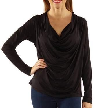 24/7 Comfort Apparel Women's Flattering Draped Neck Silky Top