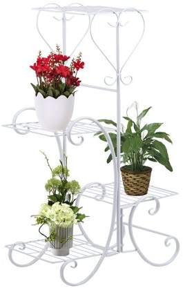 Dodomore Wrought Iron 4 Layers Flower Pot Plant Stand Holder Rack Display Shelf