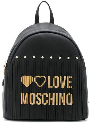 Love Moschino logo fringed backpack