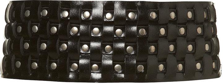 Interwoven Leather Stud Belt
