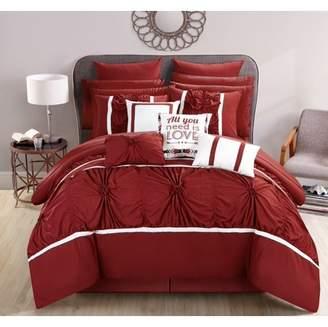 BEIGE Chic Home 16-Piece Legaspi Floral Pinch Pleat Ruffled Designer Embellished Queen Bed In a Bag Comforter Set Marsala With sheet set