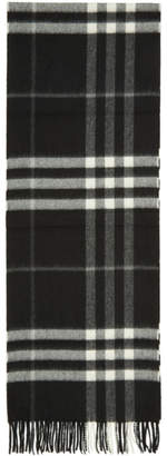 Burberry Black Cashmere Giant Check Scarf