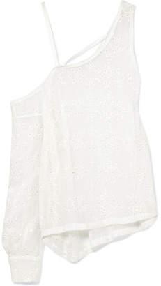 Ann Demeulemeester Asymmetric Broderie Anglaise Silk-blend Top - White
