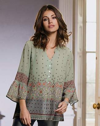 Together Print Button Blouse