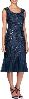 Alex Evenings Sequin Embroidered Cocktail Dress