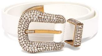 f467fe81f88 Balenciaga Crystal Embellished Leather Belt - Womens - White
