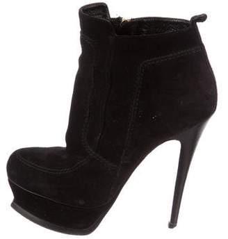 Saint Laurent Round-Toe Platform Ankle Boots