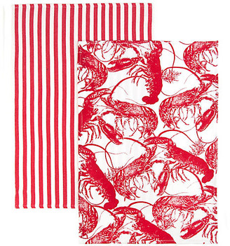 One Kings Lane Set of 2 Lobster Stripe Kitchen Towels - Red/White