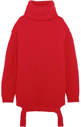 Balenciaga - Oversized Ribbed Wool Turtleneck Sweater - Red