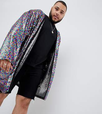 Asos Design Plus Festival Oversized Duster Jacket In Multi Coloured Sequins