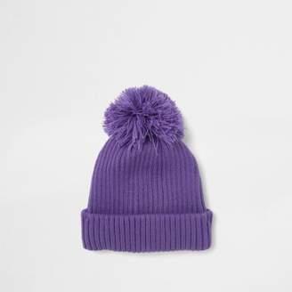 River Island Mens Purple bobble pom pom beanie hat