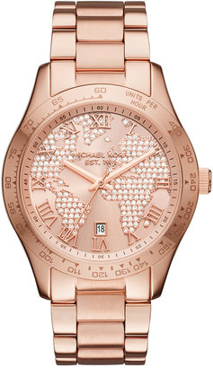 Michael Kors Women's Layton Rose Gold-Tone Stainless Steel Bracelet Watch 44mm MK6376, First at Macy's $275 thestylecure.com