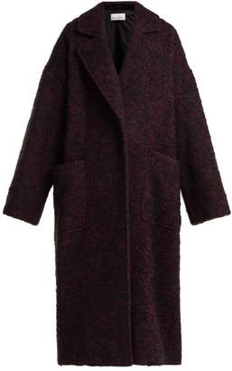 Raey Dropped Shoulder Wool Blend Blanket Coat - Womens - Burgundy