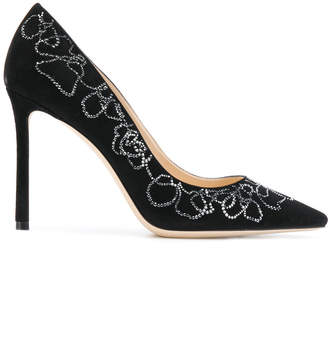 Jimmy Choo Romy 100 crystal floral pumps