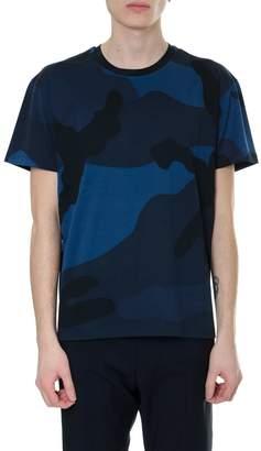 Valentino Cotton Blue Camouflage T Shirt