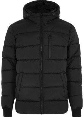 River Island Mens Black hooded puffer jacket