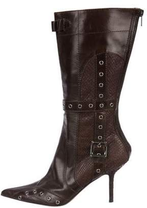 Christian Dior Leather Mid-Calf Boots Brown Leather Mid-Calf Boots