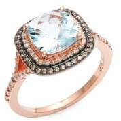 Effy 14K Rose Gold, Blue Topaz & Diamond Ring
