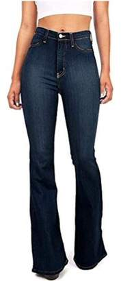 Sibylla SIBYLLA Womens Bell Bottom Jeans High Waisted Flare Fitted Casual Plain Denim Pants