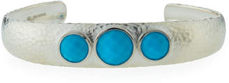 Gurhan Galapagos Wide Sterling Cuff w/ Turquoise Bezels
