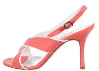Manolo Blahnik Woven Slingback Sandals