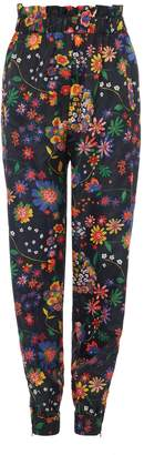 Tibi Tech Floral Pull On Paperbag Joggers
