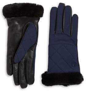 UGG Quilted Leather and Shearling Sheepskin Glove
